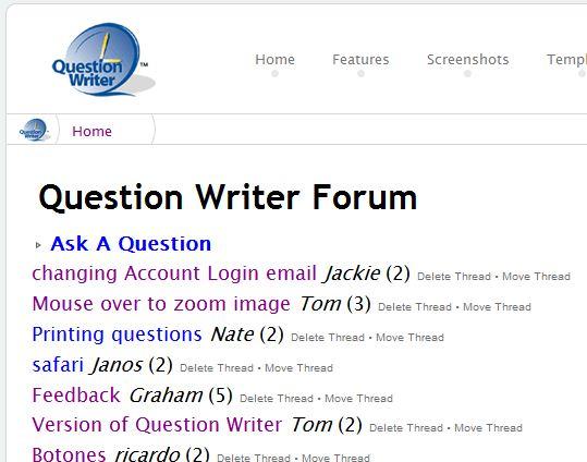 Question Writer user forum