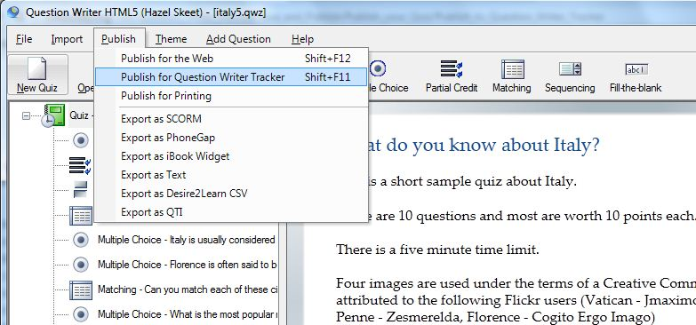 Publish for Question Writer Tracker