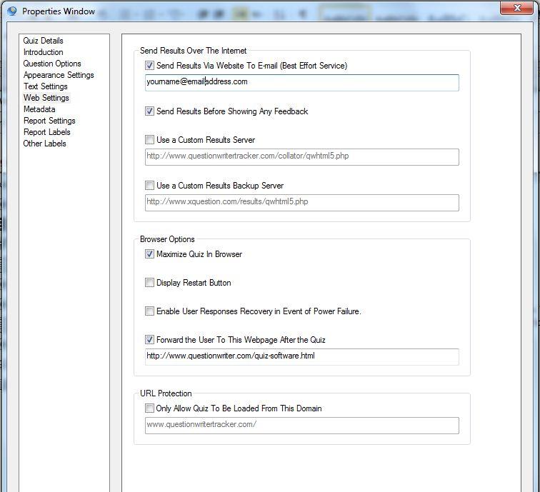 Question Writer Web Settings