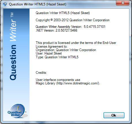 Question Writer Help menu About option