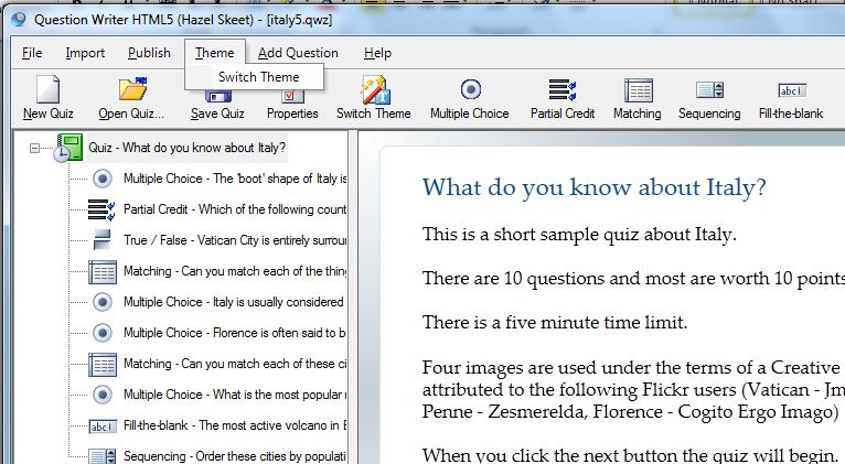 Question Writer Select Theme