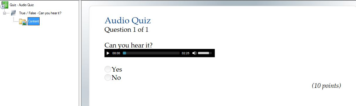 How do I add audio to a quiz?