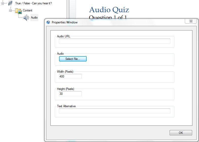 audio properties window